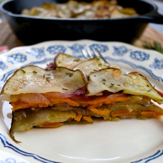 Potato cake, red onion and sweet potato