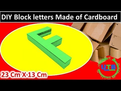 How To Make Cardboard Letters Stand Up 3d Cardboard Letter F Sign Paper Mache Craft Youtube Block Lettering Cardboard Letters Diy Blocks