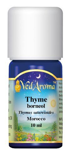 VedAroma Thyme, borneol Therapeutic Grade Essential Oil 10 ml;This stimulating, invigorating oil is a tonic for many bodily systems; helps strengthen the immune system; is an aid in relieving physical and mental exhaustion; good tonic for men; Click here to order on  VedAroma http://www.amazon.com/dp/B00HMD9I38/ref=cm_sw_r_pi_dp_4ygRtb15TY0A7Y9R