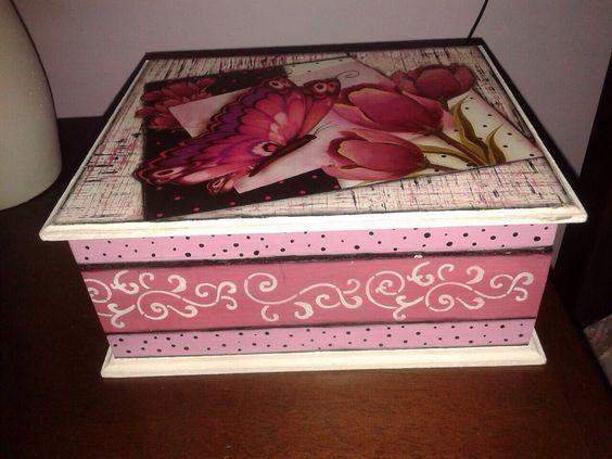 Caixa mdf decorada decopage rosa porta joia