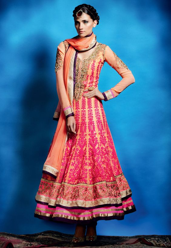 Peach Faux Georgette Semistitched Churidar Anarkali Kameez @ $162.88