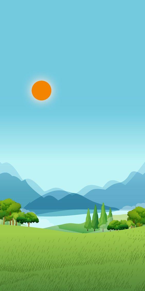 Sol Pasto E Montanhas 3D
