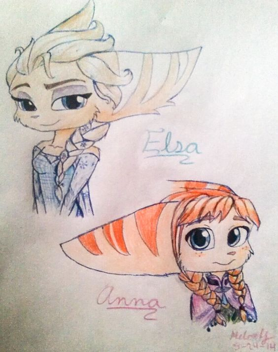Elsa and Anna (lombax version) (finish) by Melokitty0461.deviantart.com on @DeviantArt