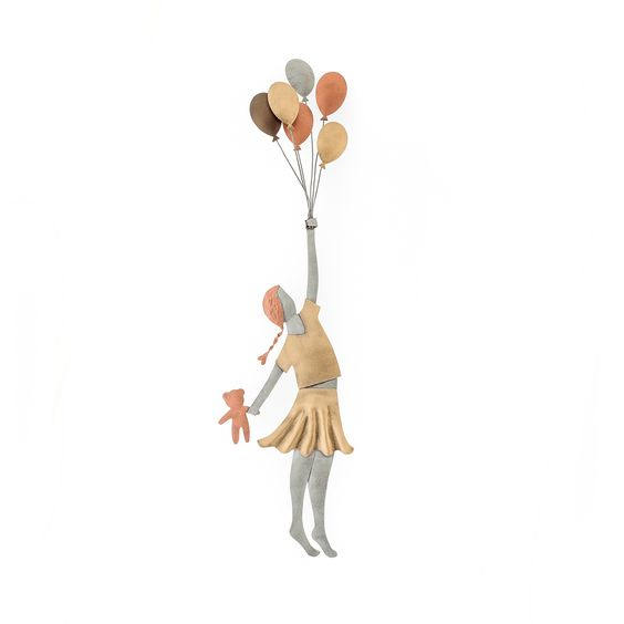 Metal Wall Ornament 3D - Girl with Balloons