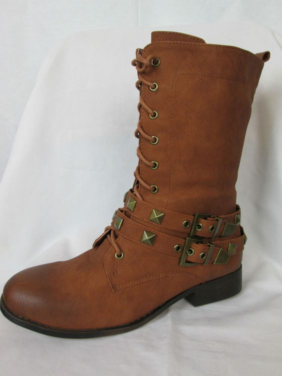 New DBDK Women's Brown Boots Studded Calf High Combat Lace-up ...
