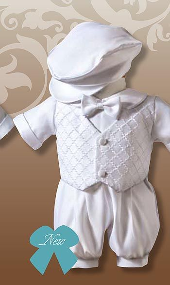 Baptism Idea: Boy Outfit  I love the cap. Remember parents you'll have to undo the front of the baptism outfit so the priest/minister can put oil on the baby's throat. Peace.