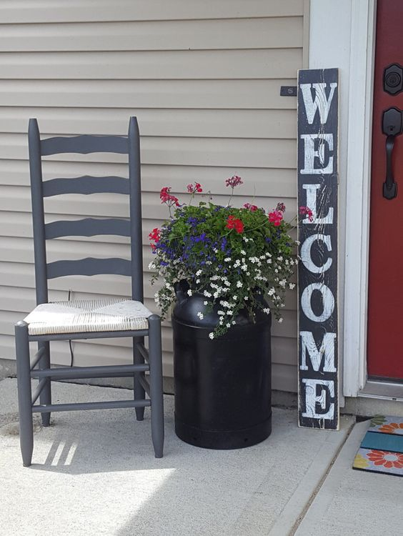 Flag Welcome Sign Front Doors