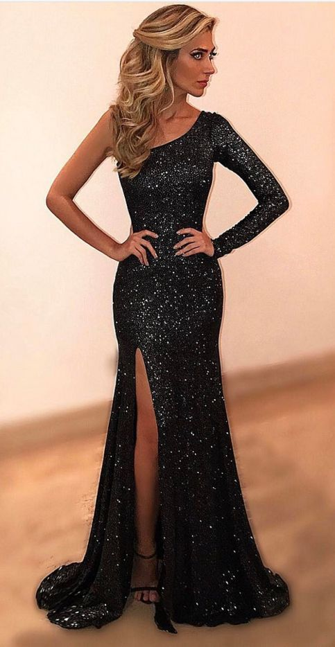 Cheap Prom Dresses Black Evening Dresses One Shoulder Evening Party Dress F8598 From Ulass Ballkleider Mit Armeln Galakleider