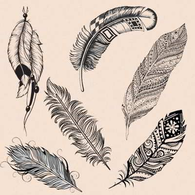 Indian feather. Symbolizes a journey or the ability to move with freedom, spiritual protection, bravery and courage, hope, virtues, faith, and charity.