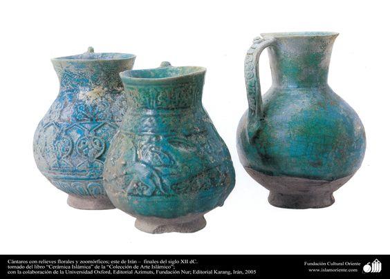 Cántaros con relieves florales y zoomórficos; este de Irán – finales del siglo…
