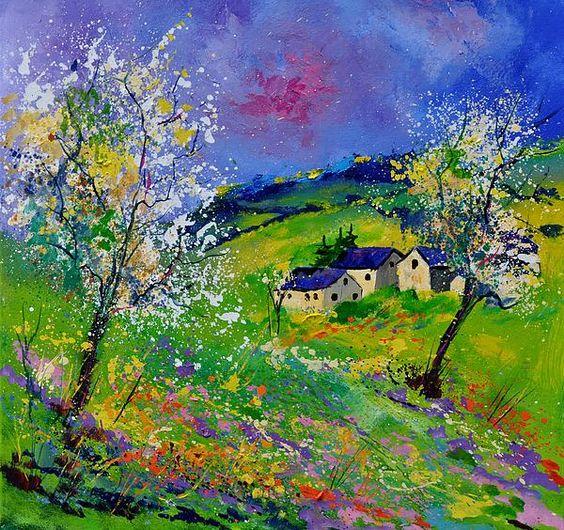 """Pol Ledent, """"Spring 774140"""", Oil On Canvas! 70 x 70 cm."""