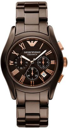Emporio Armani Watch, Women's Chronograph Brown Ceramic Bracelet