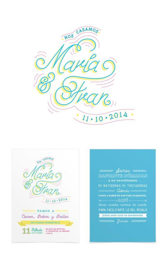 Typographyc wedding Invitation by www.bogartybacall.com