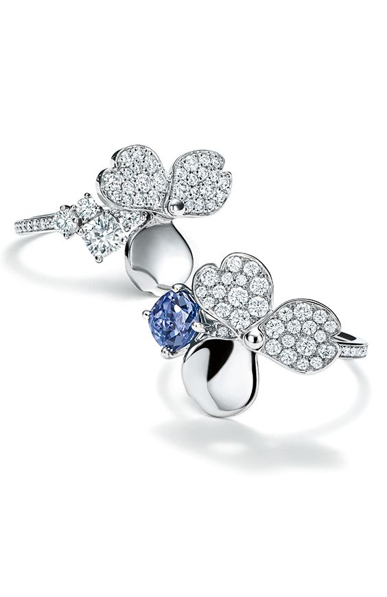Tiffany Paper Flowers Diamond And Tanzanite Flower Ring In