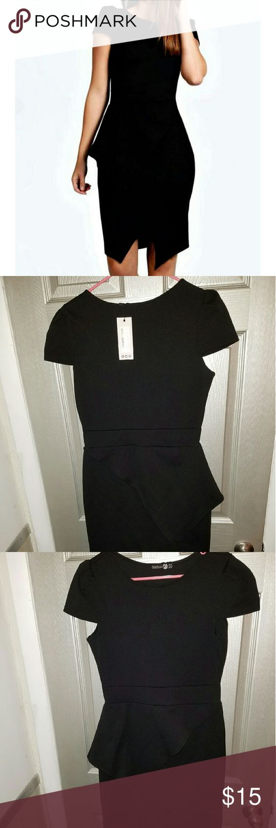 Boohoo Wrap Body-Con Dress Little Black DRESS Great for an evening out or for work Never Worn Size US10 UK14 EUR42 Boohoo Dresses Midi