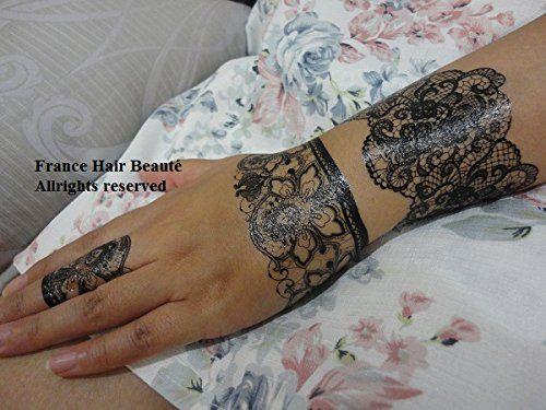 TATOUAGE TEMPORAIRE DENTELLE NOIRE. (PROMOTION : Si 2 planches achetées parmis tous nos tatouages = 2 gratuites en plus au choix rajoutées…