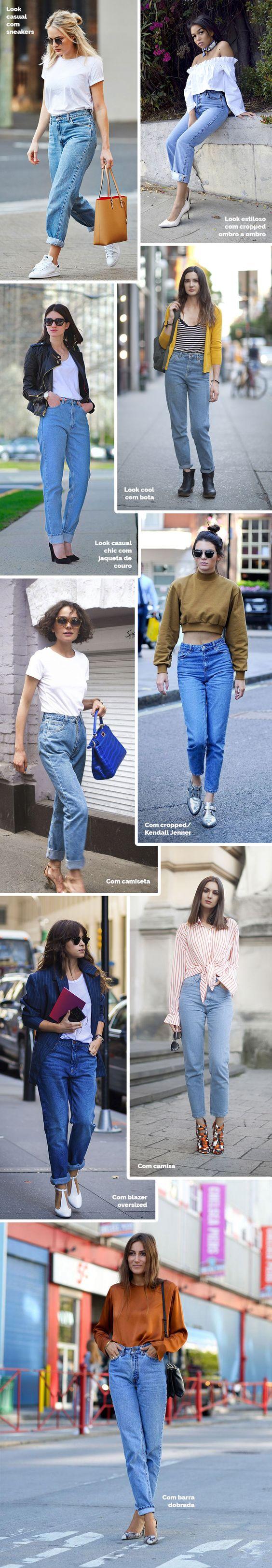Layla Monteiro como usar mom jeans. Calça de cintura alta, tendência nos anos 80, que voltou com tudo! Perfeita para usar com t-shirt branca, moletom, camisa, jaqueta, entre outros.