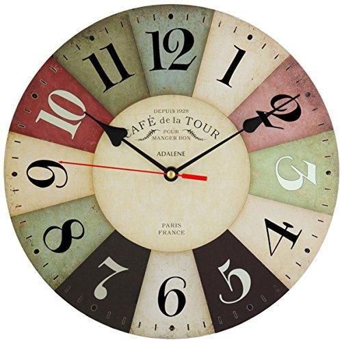 Non Ticking 12 Inch Vintage Colorful Wood Wall Clock In 2020 Wall Clock Silent Retro Kitchen Clocks Clock For Kids