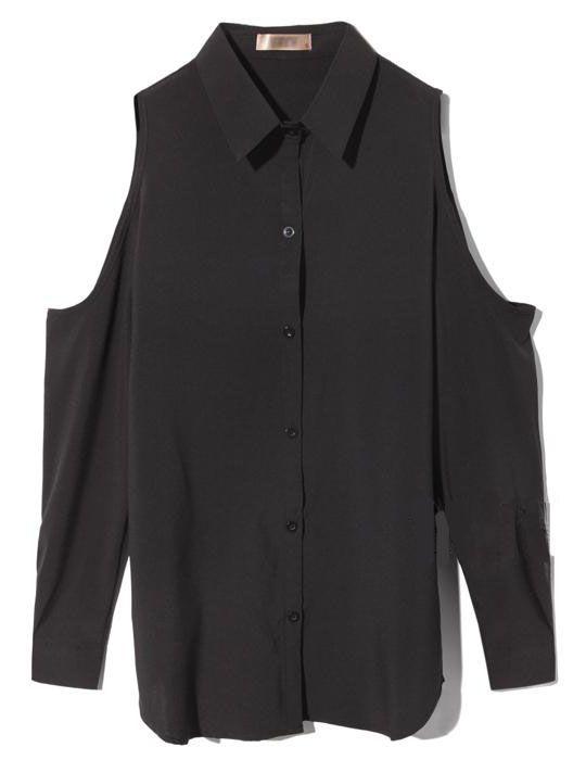 Off The Shoulder Lapel Loose Chiffon Shirt Black