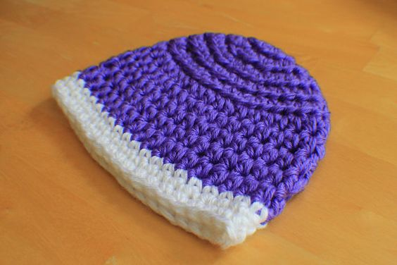 Reversible Crochet Beanie Hat in Purple and by PurlsAndPixels