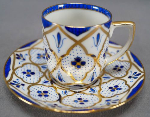 Vintage M & Z Austria Cobalt & Gold Moorish Design Porcelain Demitasse Cup & Saucer C. 1884-1909, Blue & White Espresso Cup & Saucer w/ Gold Gilt