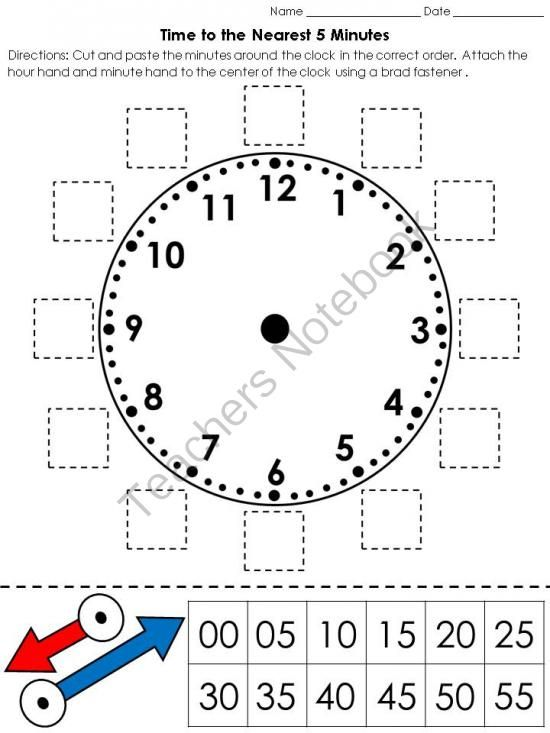 Time: Clock Cut and Paste Activity - Telling Time to the Nearest 5 ...