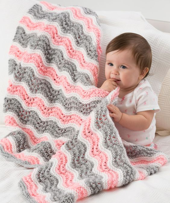 Baby Girl Chevron Blanket Knitting Pattern Red Heart free pattern Knittin...
