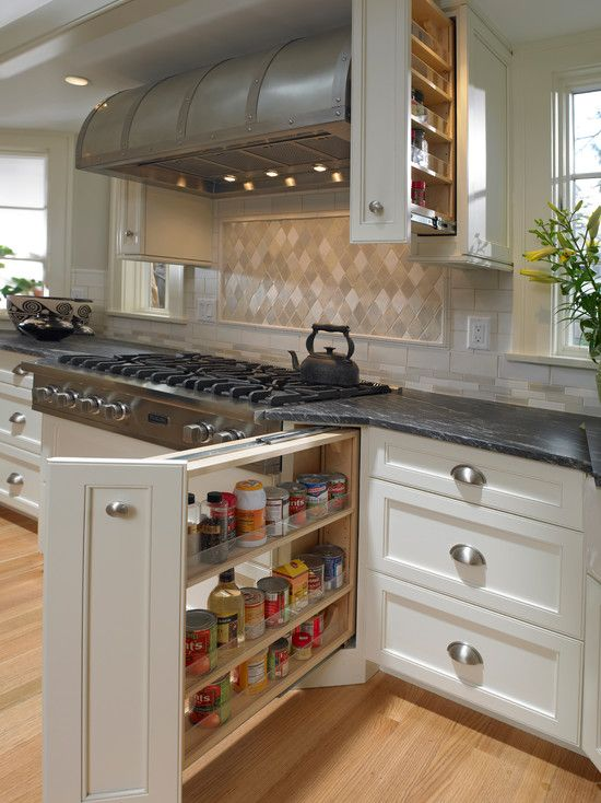 Countertop Next To Stove : with amazing pull-out spice cabinet next to stainless steel gas range ...