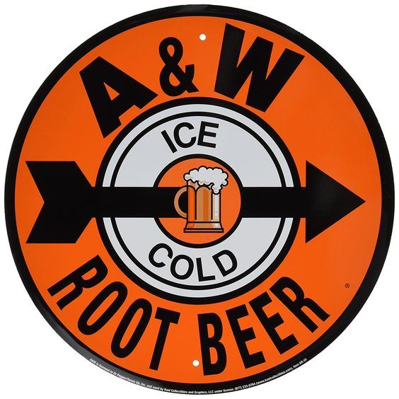 Best gift for any A&W fans. A & W Root Beer Reproduction Ad Tin Sign.
