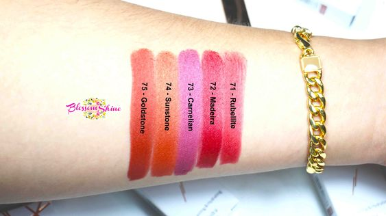 Hand Swatch of Purbasari Metallic Color Matte Lipstick (Right - Left): 71 Rubellite, 72 Madeira, 73 Carnelian, 74 Sunstone, 75 Goldstone