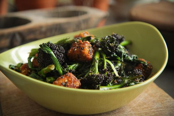 Crispy Sesame Tofu with Purple Sprouting Broccoli | Food to eat ...
