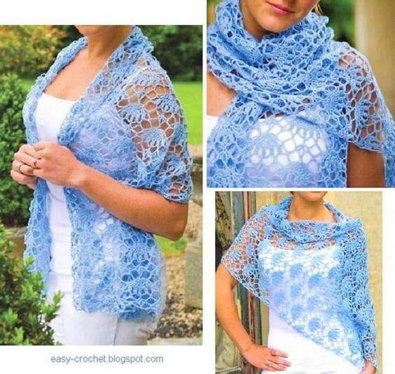Easy blue Women Crochet Lace Wrap for Summer~Chart