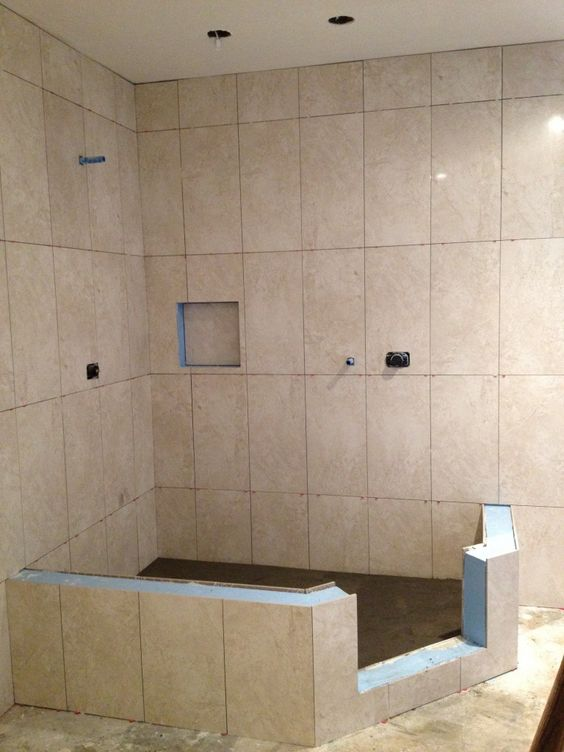 Vertical Shower Tile In A Straight Lay   Powder Rooms   Pinterest. Laying Bathroom Tile Shower   Rukinet com
