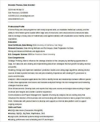 Data Scientist Resume Format Data Scientist Resume Examples Sample Resume
