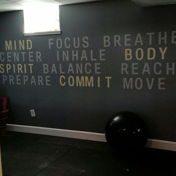 """I Painted Free Hand 12"""" Letters In Our Home Gym/Yoga"""
