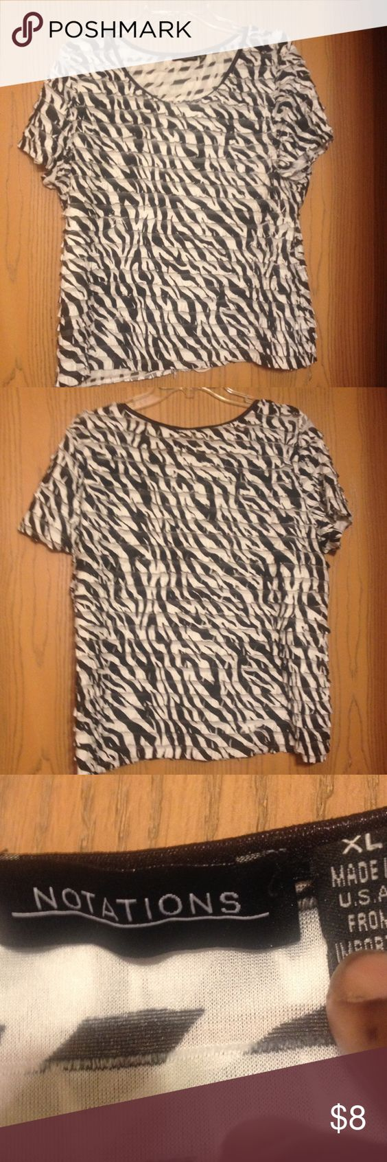 Notations Top Black & white ruffled top. In good condition. Notations Tops