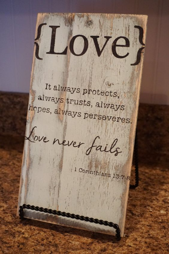 Love never fails. Bible verse. Wood sign. 1 by Bridges2You on Etsy