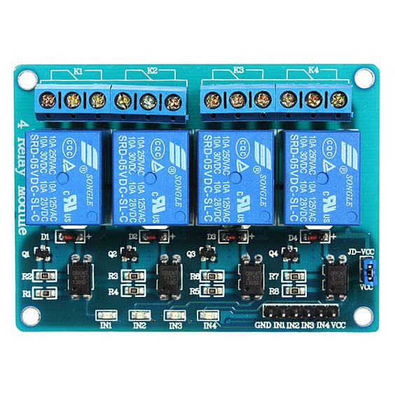 5Pcs 5V 4 Channel Relay Module For Arduino PIC ARM DSP AVR MSP430 Blue