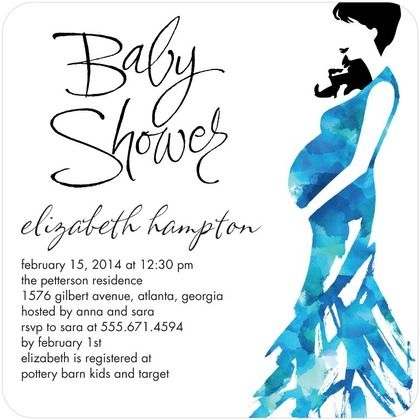 Baby Shower Invitations Watercolor Silhouette - - Front : Oasis
