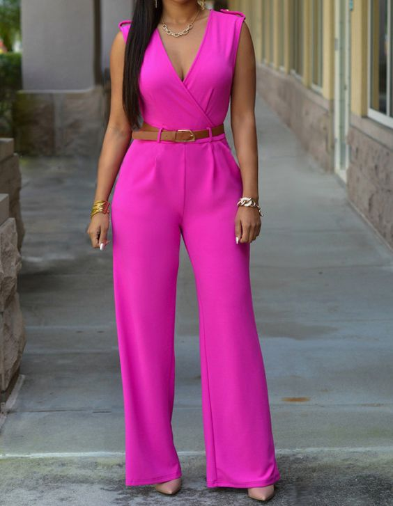 Womens Rose Red Sleeveless V Neck Surplice Belted Long Pants Jumpsuit