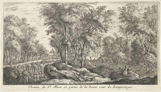 Albert Flamen   Landschap met wandelaars, Albert Flamen, 1648 - 1672   Een landschap met hoge bomen en op de achtergrond een deel van de omheining en het dak van kasteel Longuetoise. Op het pad tussen de bomen lopen mannen, vrouwen en kinderen. Op een rots langs het pad zitten twee vrouwen.