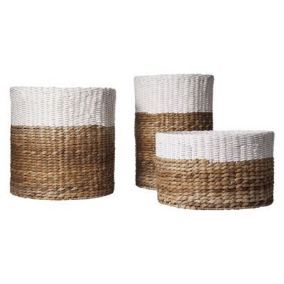 Color Block baskets for under console - these are sold out but we can find something similar.