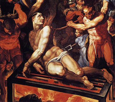 "Below is a detail from Pellegrino Tibaldi's Martyrdom of St Lawrence (1592) An uncorroborated tradition holds that Lawrence was grilled to death in Rome, and that while being grilled he joked about being cooked well enough to eat, saying ""Turn me over. I'm done on this side"".  He is the patron saint of cooks and chefs."