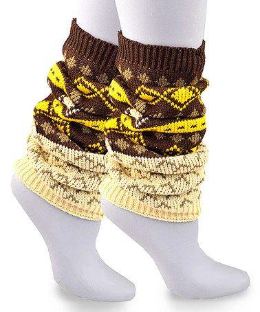 Look at this #zulilyfind! Oatmeal & Yellow Geometric Leg Warmers #zulilyfinds