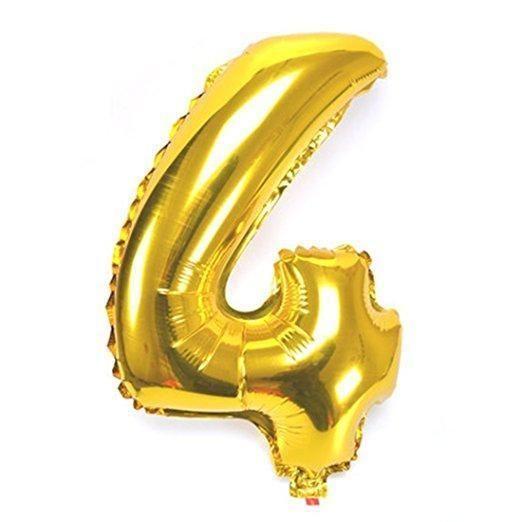Number 4 Foil Birthday Balloon Gold Balao De Numeros Baloes De Aniversario Balao
