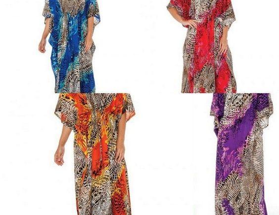 Long Kaftan Dress Hippy Boho Maxi Women's Caftan V neck Dress Animal Print 1size…