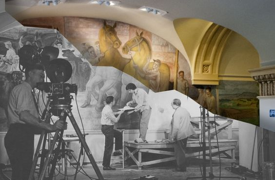 A staff photographs and places on pinterest for Clarks mural fresco