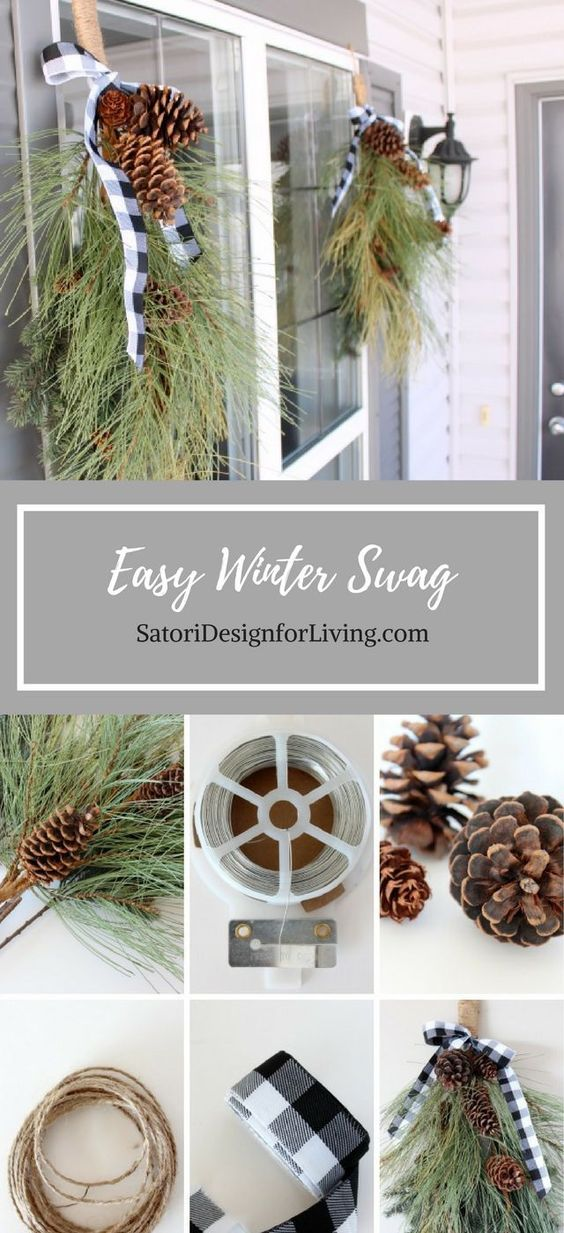 This winter swag is a quick and easy way to decorate your front porch for the winter and Christmas season! Get more DIY Christmas decorating ideas at SatoriDesignforLiving.com