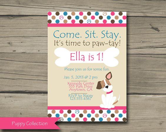 Pink Puppy Birthday Party Invitation, Printable Puppy Birthday Invite, Dog, DIY, Digital, Personalized, Pink, Blue, Girl Puppy, Polka Dot on Etsy, $10.00