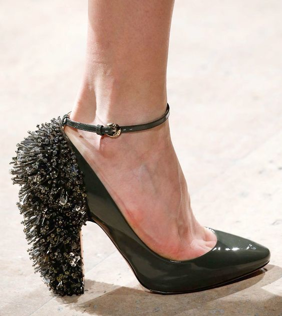 Best Runway Shoes from the Fall 2015 Shows - Rochas beaded patent pump